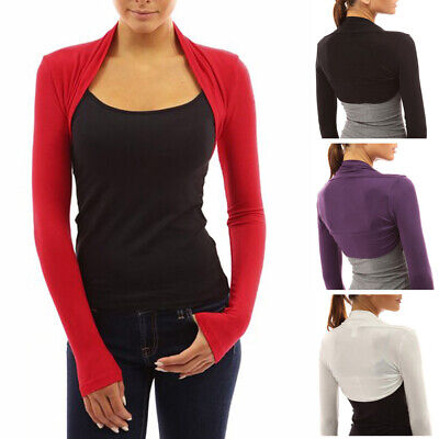Womens Long Sleeve Bolero Shrug Coat Tops Stretch Cropped Cardigan Top Sweaters