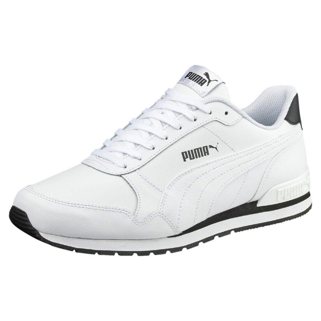 Puma st Runner v2 plein L Chaussures Baskets Sneakers Cuir 365277 Blanc et Noir