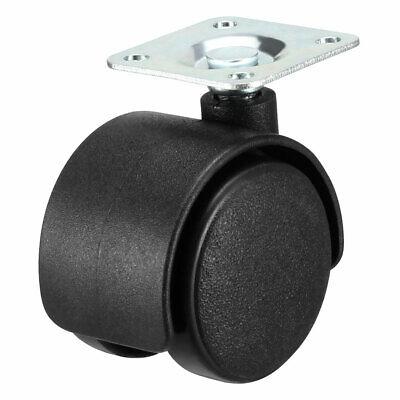 Swivel Caster Wheels 1.5 Inch Nylon Plate Mounting Caster Twin Wheel Black 4pcs