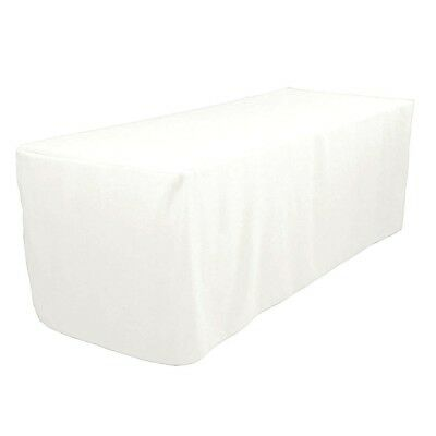 4 Ft. Fitted Polyester Tablecloth Trade Show Booth Wedding Table Cover White