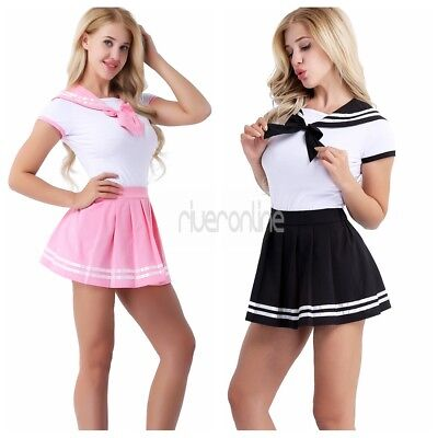 Japanese School Girl Sailor Suit Womens Romper Dress Outfit Csotumes Halloween ()