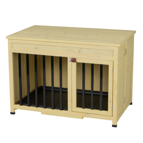 No Assembly Foldable Indoor Wood Dog Crate Pet Cage Portable House w/ Tray