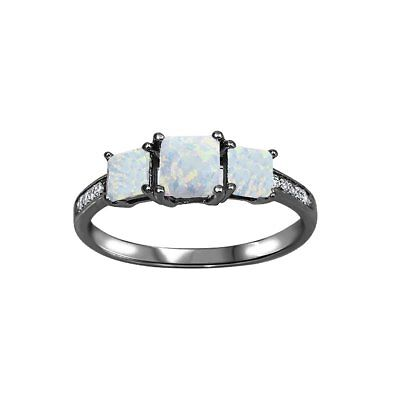 Three Color Stone (Three Stone Engagement Ring Princess Cut 925 Sterling Silver Choose)