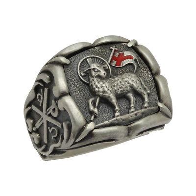 Lamb of God Sterling Silver 925 Knight Templar Men Chi Rho Ring US sizes God Mens Ring