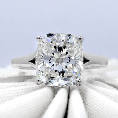 Natural 2.70Ct Cushion Cut Solitaire Diamond  Engagement Ring H VS2 Platinum GIA 1