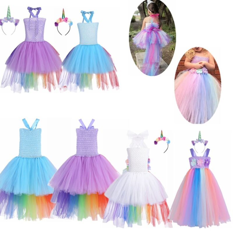 Girls Kid Cartoon Unicorn Rainbow Sleeveless Swing Tutu Dress Formal Party Dress