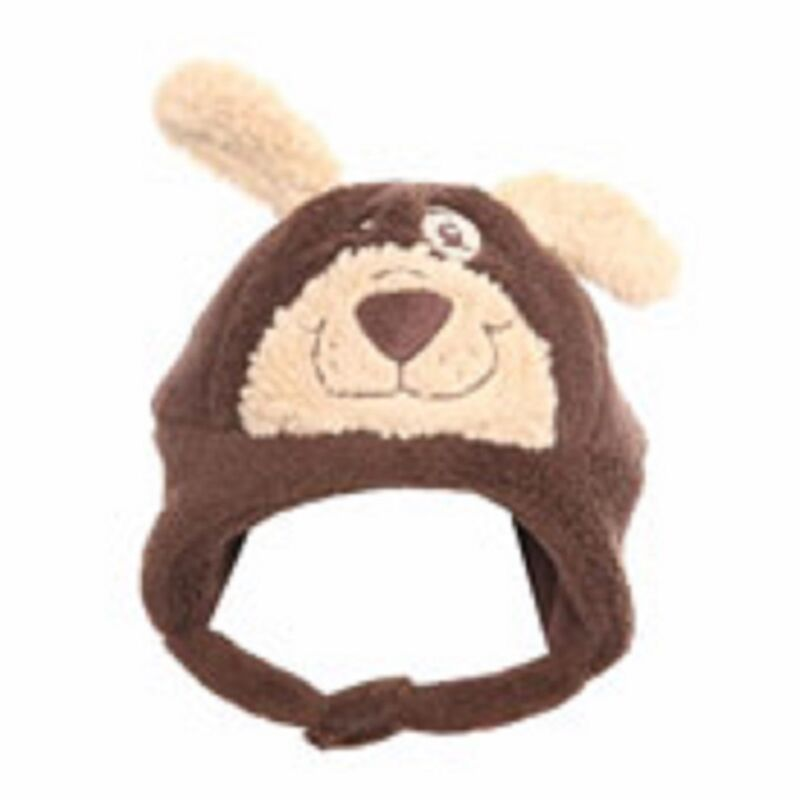 Baby furry bear hat with chin strip