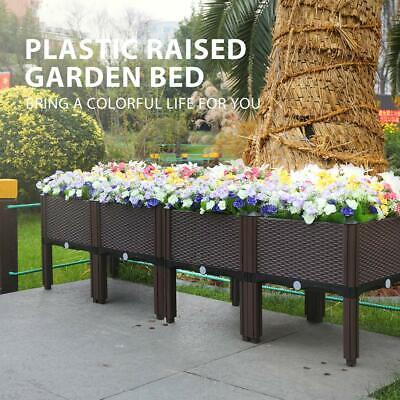 VIVOHOME 2/4x Set Raised Garden Bed Elevated Flower Vegetable Grow Planter Box Embossed Flower Box