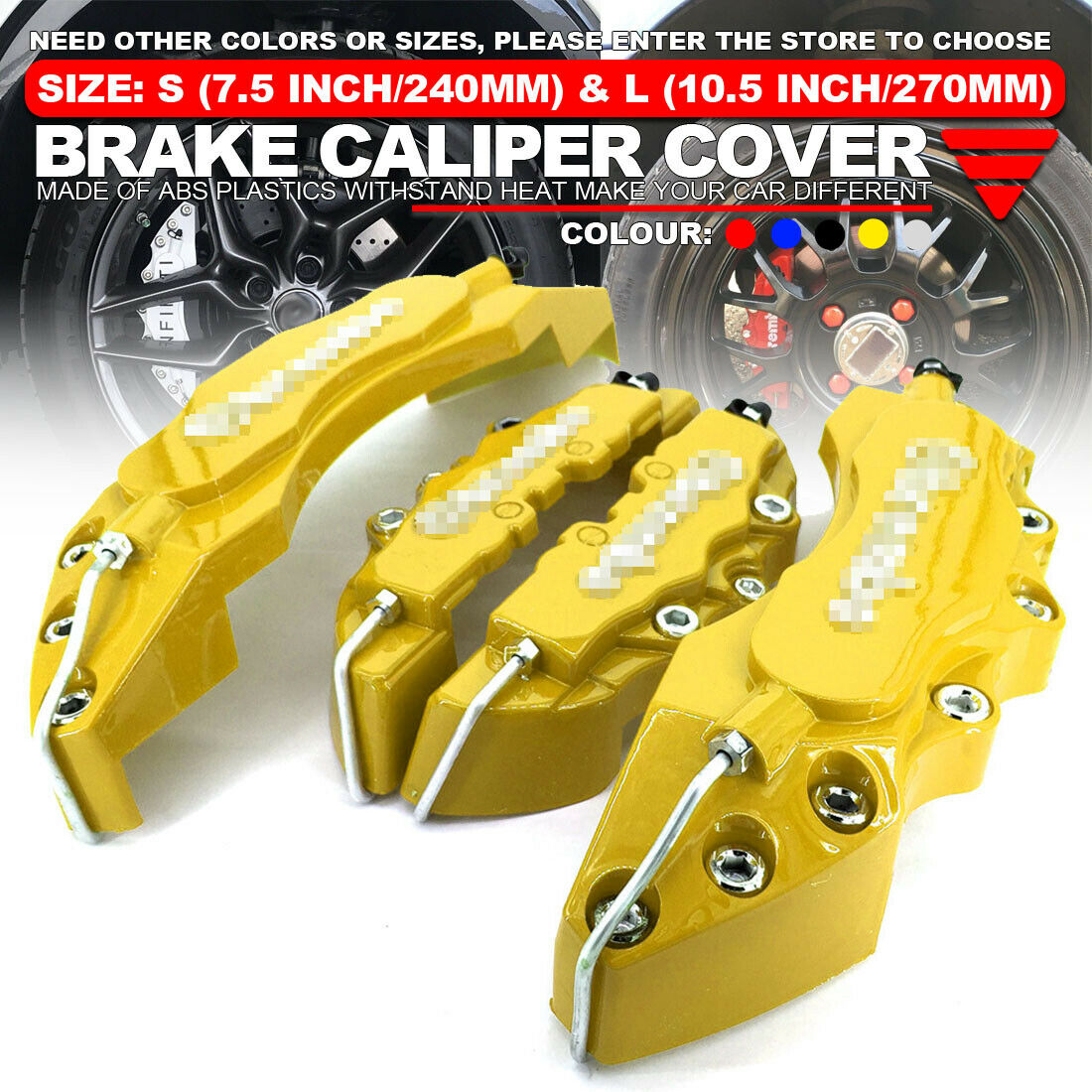 """4x Red Brake Caliper Covers Style Disc Universal Car Front Rear Kits 10.5/"""" WL01"""
