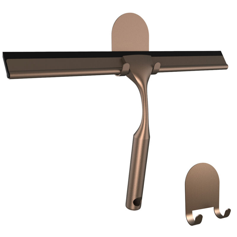 HOME SO Shower Squeegee with Two 3M Adhesive Holders - Stainless Steel, Bronze