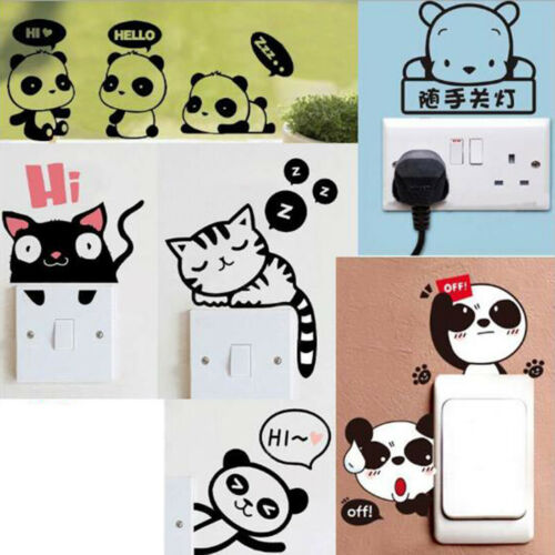 Home Decoration - Removable Funny Cat Switch Sticker Black Art Decal Wall Poster Vinyl Home Decor
