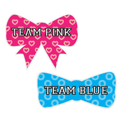 Die Cut Team Pink Blue Gender Reveal Baby Shower Party Bow Tie Sticker 40 pack - Baby Shower Party Pack