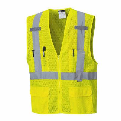 Portwest Us370 Atlanta Hi Vis Mesh Safety Vest With Reflective Tape 6 Pockets