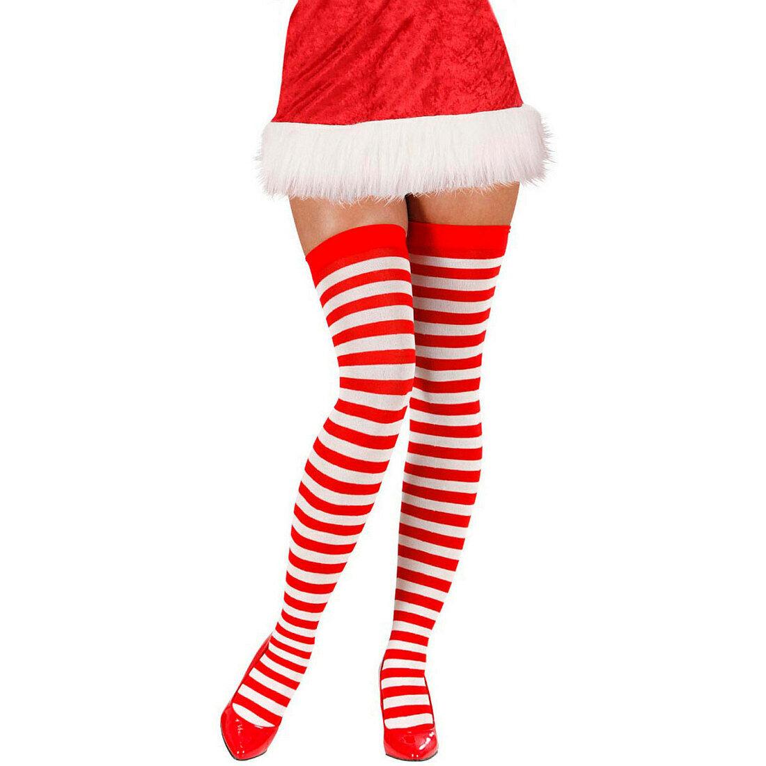 Geringelte halterlose Strümpfe Miss Santa Rot-Weiß Weihnachtsstrümpfe Overknees