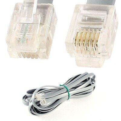 7ft. RJ11 CAT5e 6P4C Gray DSL Telephone Data Cable - NEW