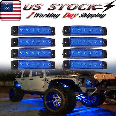 8X 38 Blue LED Rock Lights For Jeep Off road UTV Underbody Light Surface Mount