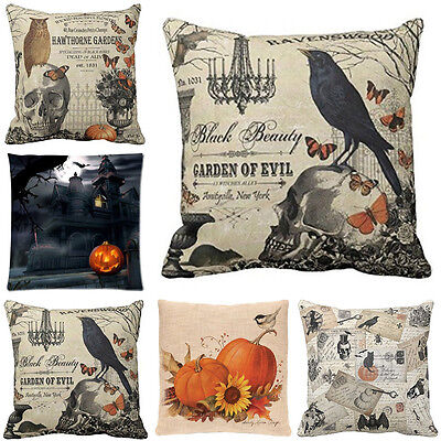 Happy Halloween Cotton Linen Pillow Case Sofa Bed Cushion Covers Home Decoration - Home Decoration Halloween