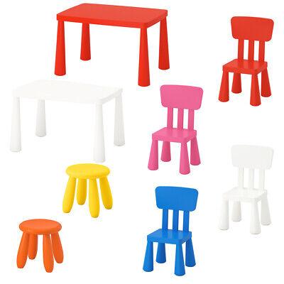 Kinder Tisch Stuhl (IKEA MAMMUT Kinder Tisch Stuhl Hocker Sitzgruppe Set Garten Kunststoff BPA frei)