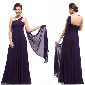 BNWT One Shoulder Padded Ruffles Long Bridesmaid Dresses 09816