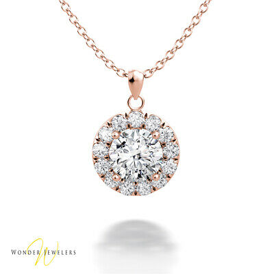 0.95ctw GIA Round Diamond Halo Necklace Pendant 14K Rose Gold F/VS2 (6295920878)