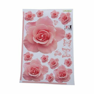Rose Flower Pattern Removable Wall Sticker Decal DIY Home Decor DT