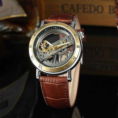 Mens Ghost Bridge Leather Automatic Mechanical Stainless Steel Wrist Watch -