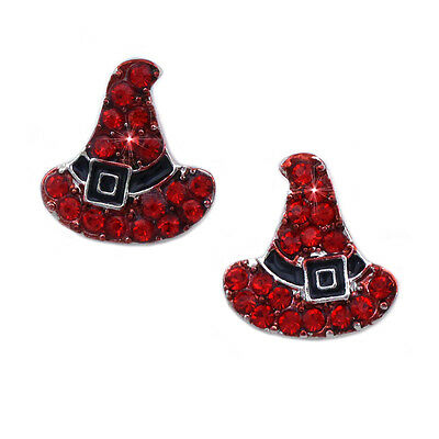 Red Witch Magic Wizard Hat Stud Earrings Halloween Party Costume Jewelry  - Halloween Costume Red Hat