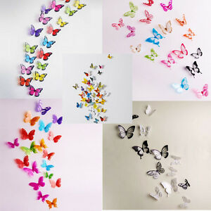 18pcs autocollant 3d diy papillon d coration sticker mural adh sive d co maison ebay. Black Bedroom Furniture Sets. Home Design Ideas