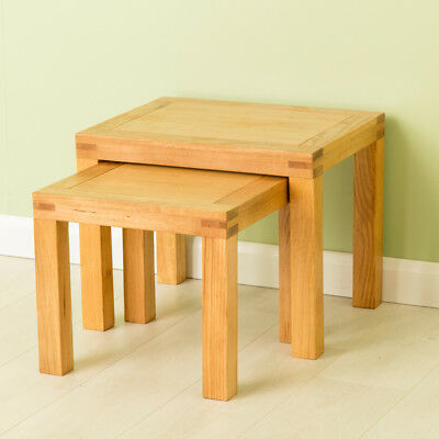 Abbey Oak Nest of Tables / Waxed Oak Lamp Tables / Modern Solid Wood Table Set for sale  Shipping to Ireland