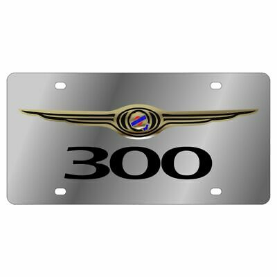 Stainless Steel Chrysler 300 Logo Color Black 300 License Plate Frame 3D Novelty ()