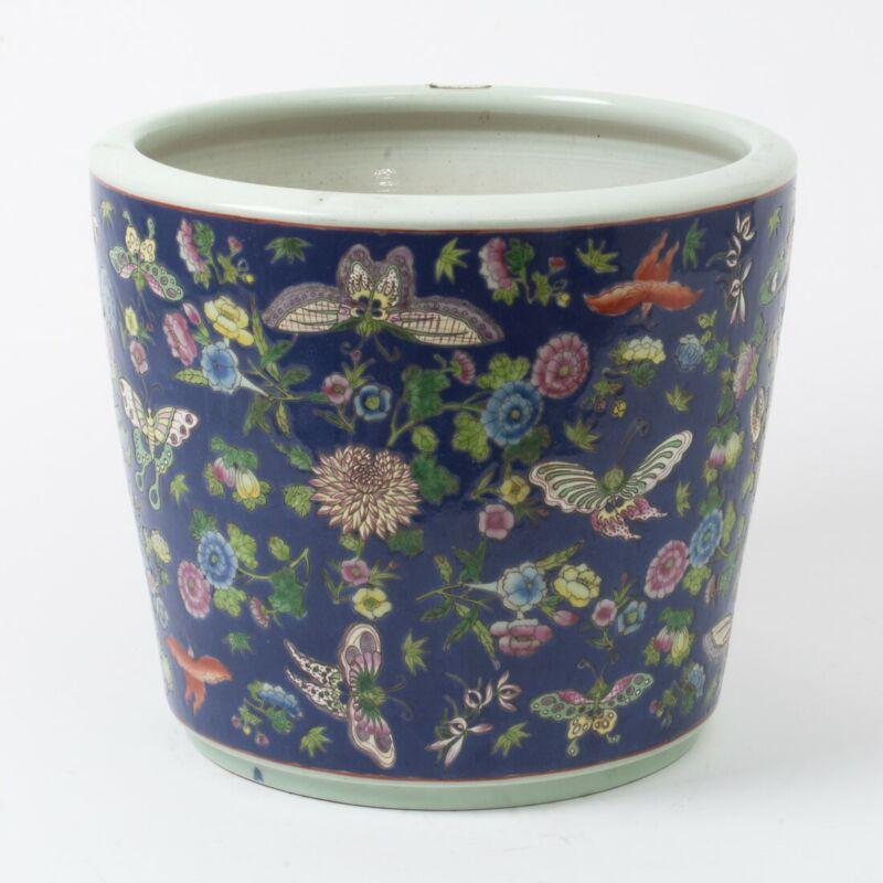 """Large Antique Chinese Ceramic Planter Pot Blue w. Flowers & Butterflies 12"""" T"""