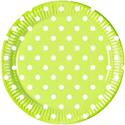 8 Pappteller Teller Partyteller Einwegteller Partygeschirr Dots Punkte hellgrün