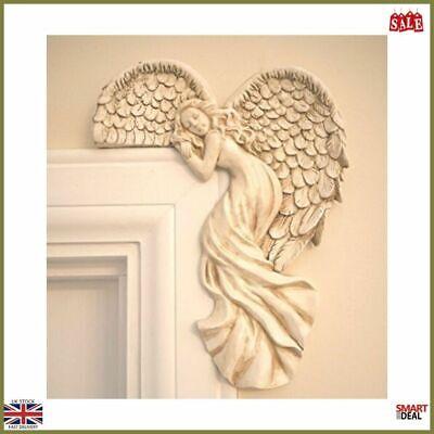Angel Wings Door Frame Art Vintage Ivory Guardian Decor Fairy Door Ornament Home