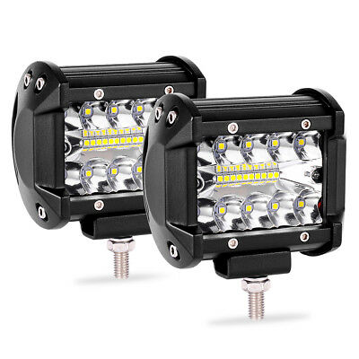 4inch 200W Tri Row LED Work Light Bar Pods Flush Mount Combo Driving Lamp 12V