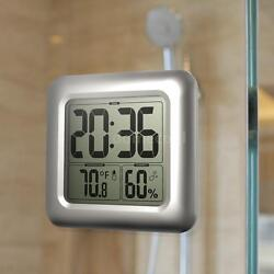 Digital LCD Display Waterproof Bathroom Wall Shower Clock With Suction Cup 4O7X