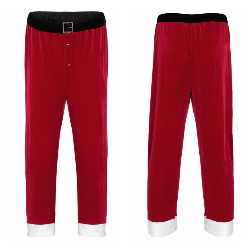 36998453299 Adult Father Christmas Santa Claus Costume Mens Long Pants Trousers Xmas  CosplayUSD 5.95