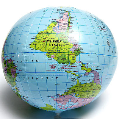 Inflatable Blow Up World Globe 40CM Earth Atlas Ball Map Geography Toy SY - Inflatable World Globe