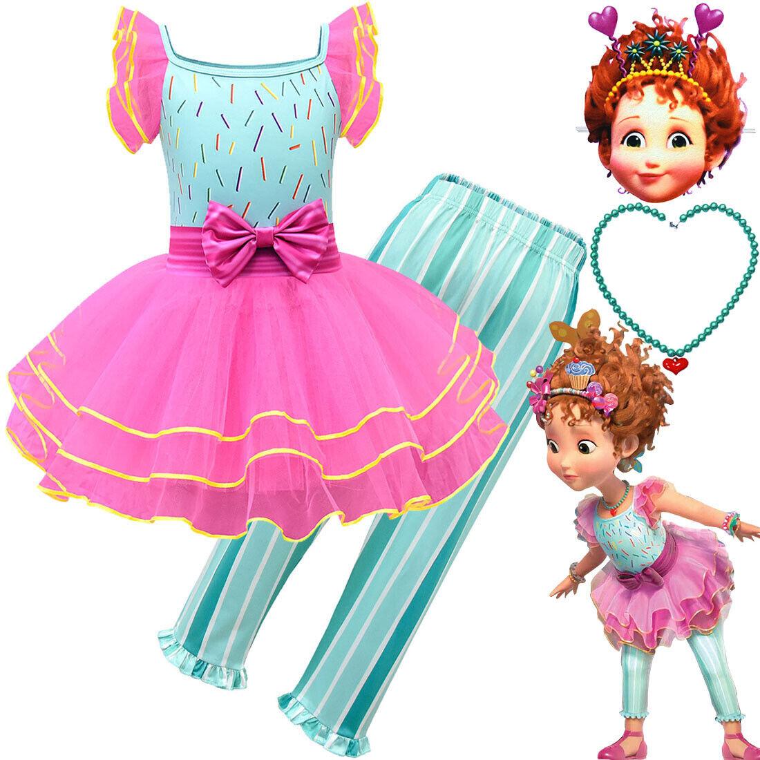 Fancy Nancy Cosplay Princess Dress Girls Halloween Skirt Nec