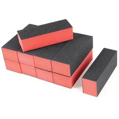 (10 x Black Red Nail Polisher 4 Way Buffer Buffing Block Manicure File)