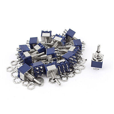 20pcs Ac 125v 6a On-off-on Dpdt Locking Mini Toggle Switch Blue 6mm K4g4