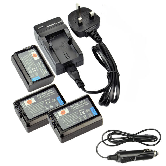 DSTE 3pcs NP-FW50 Battery + Travel and Car Charger for Sony NEX-7 6 RX10 II