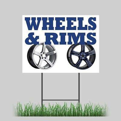 12x18 Wheels Rims Yard Sign Card Truck Chrome Powder Coated Store Sign