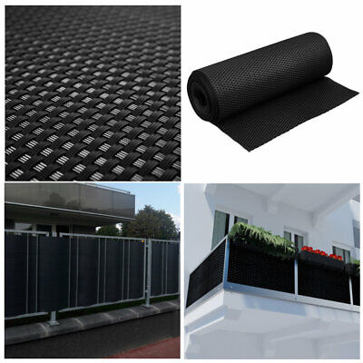 Artificial Rattan Weave Privacy Screening Balcony Fence Garden 1m x 20m Black