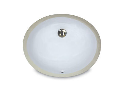 Nantucket Sinks UM-13x10-W 13-in x 10-in Small Ceramic Oval Undermount Vanity Ba
