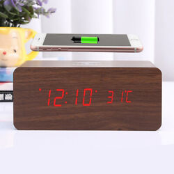 2020 Brown Wood Digital LED Desk Alarm Clock Thermometer Qi Wireless Charger US