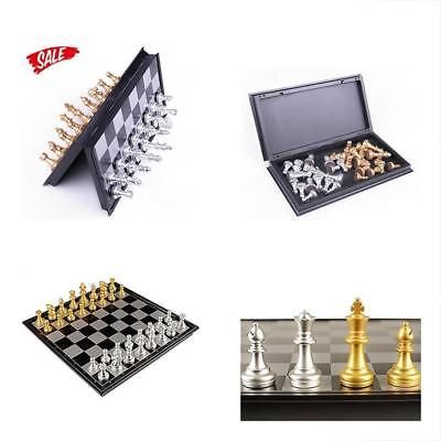 Magnetic Chess Set Portable Classic Folding Travel Aluminum Plating Board Games