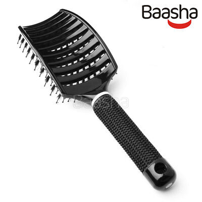 Vented Vent - Baasha Vented Wet Hair Brush, Large Curved Vent Brush with Boar Bristles, Black