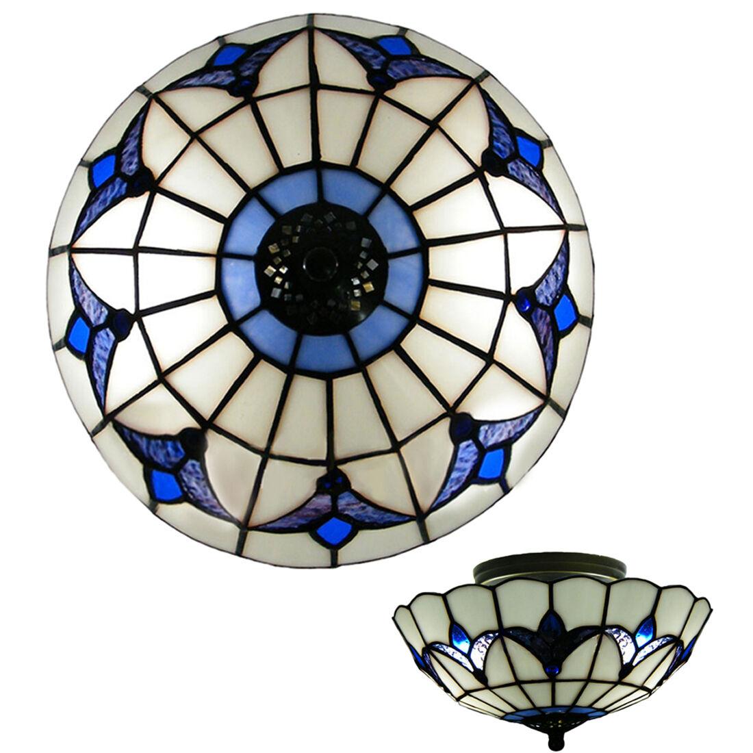 Antique style 16 3 light tiffany glass semi flush mount ceiling three lights blue flowers motif glass shade tiffany flush mount ceiling light aloadofball Gallery