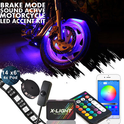 Bluetooth Motorcycle LED Light Kit RGBW Accent Glow Strips App + Remote Control