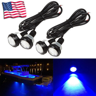 4 PC Blue LED Boat Light Waterproof Outrigger Spreader Transom Underwater Troll